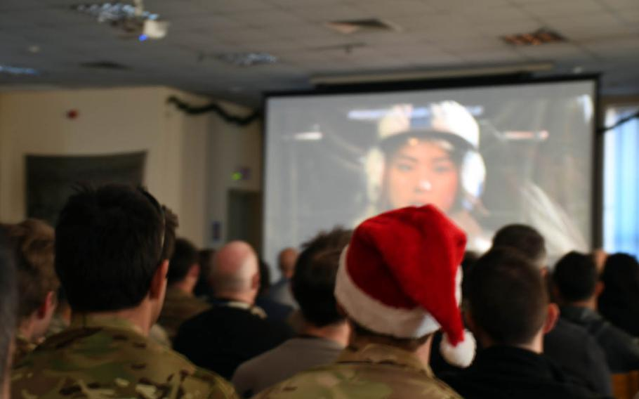 """Troops watch an afternoon screening of """"Star Wars: The Last Jedi"""" at a coalition base at Hamid Karzai International Airport in Kabul, Afghanistan, on Saturday, Dec. 23, 2017."""
