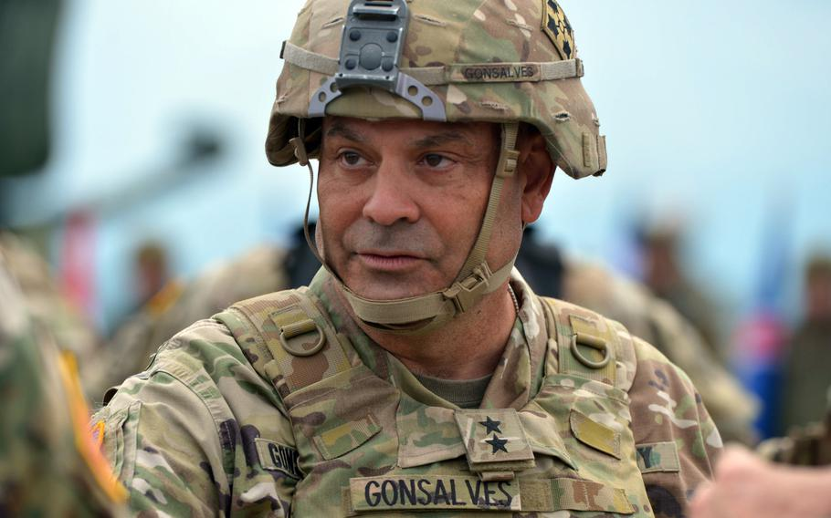 Maj. Gen. Ryan Gonsalves talks to fellow officers after a live-fire demonstration at the Saber Guardian exercise near Cincu, Romania, July 15, 2017. The Army took administrative action against Gonsalves for comments he made to a congressional staffer.