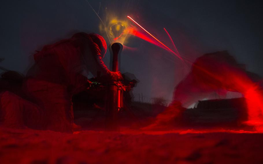 U.S. Army soldiers with Alpha Company, 2-501st Parachute Infantry Regiment, fire an 81 mm mortar in support of the Afghan National Army during operation Maiwand 10 in Helmand province, Afghanistan, Dec. 26, 2017.