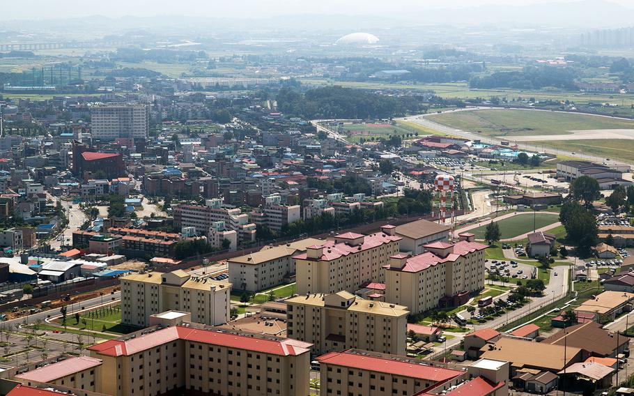 A South Korean man was apprehended after driving through a gate at Camp Humphreys, the Army's sprawling garrison south of Seoul, Saturday, Jan. 6, 2018.