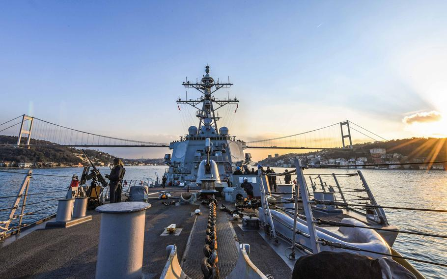 USS Carney transits the Bosporus, Jan. 5, 2018, on its way to a Black Sea rotation.