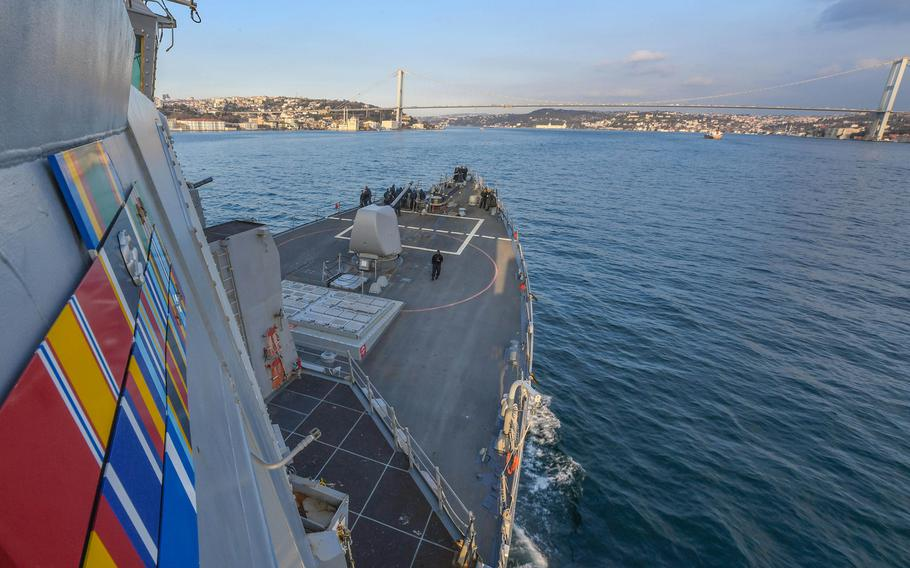 USS Carney transits the Bosporus, Jan. 5, 2018, on its way to a Black Sea patrol.