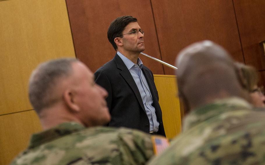 Secretary of the Army Mark Esper takes part in a town-hall meeting at Camp Humphreys, South Korea, Tuesday, Jan. 9, 2018.