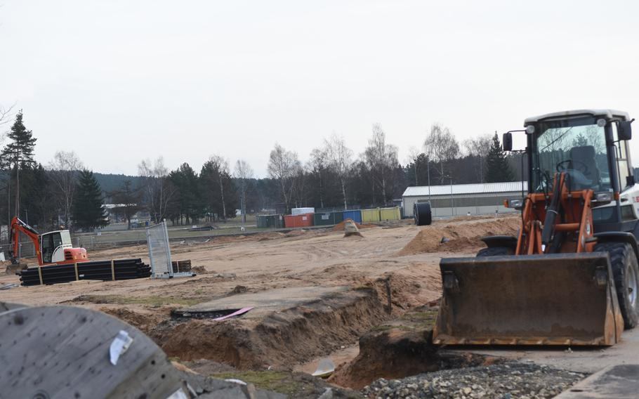 A construction site on the Grafenwoehr Training Area, Germany, Tuesday, Jan. 9, 2018.
