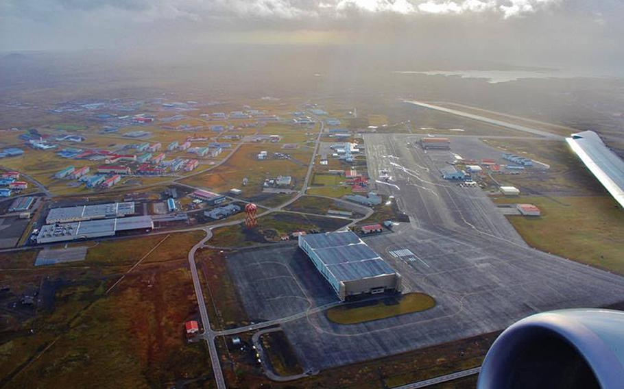 A P-8A Poseidon aircraft, assigned to Patrol Squadron 45, flies over Naval Air Station Keflavik, Iceland, Oct. 26, 2016. The Navy has been allotted nearly $36 million in the two most recent defense budgets to refurbish a hangar for the aircraft.