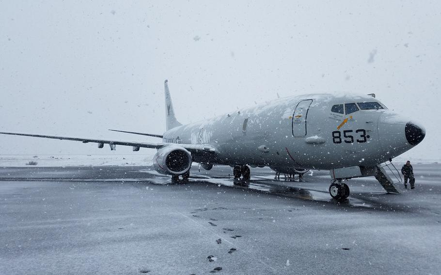 A P-8A Poseidon aircraft assigned to Patrol Squadron 16, arrives in Keflavik, Iceland, for anti-submarine warfare training, April 18, 2017. The Navy has been allotted nearly $36 million in the two most recent defense budgets to refurbish a hangar for the aircraft.