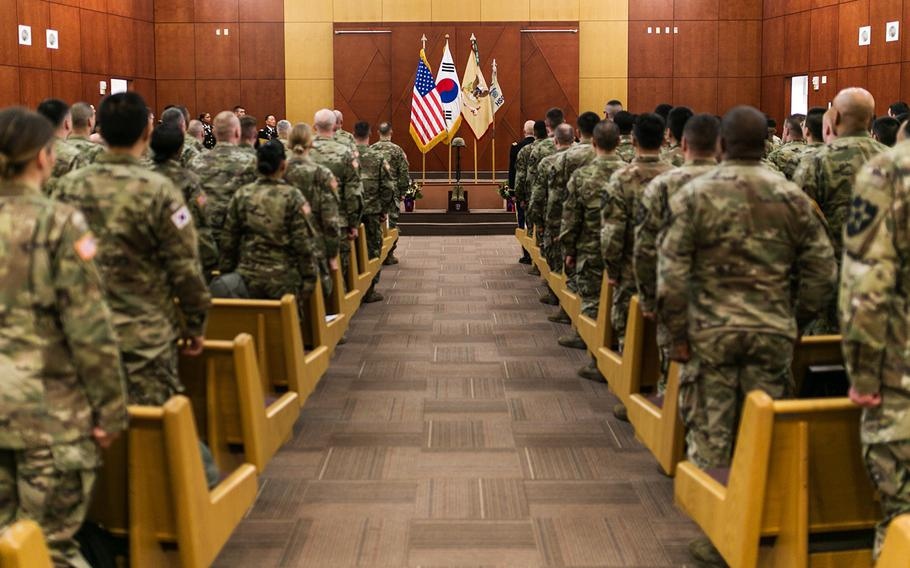 Soldiers pay their tributes to Staff Sgt. Kyle LeFlore during a memorial service at Camp Humphreys, South Korea, Thursday, Jan. 11, 2018.