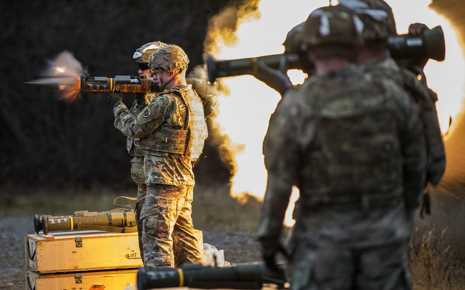 U.S. Army 1st Lt. Gerard Holodak, with the 17th Combat Sustainment Support Battalion, fires an M136E1 AT-4 at Joint Base Elmendorf-Richardson, Alaska, Oct. 12, 2017.