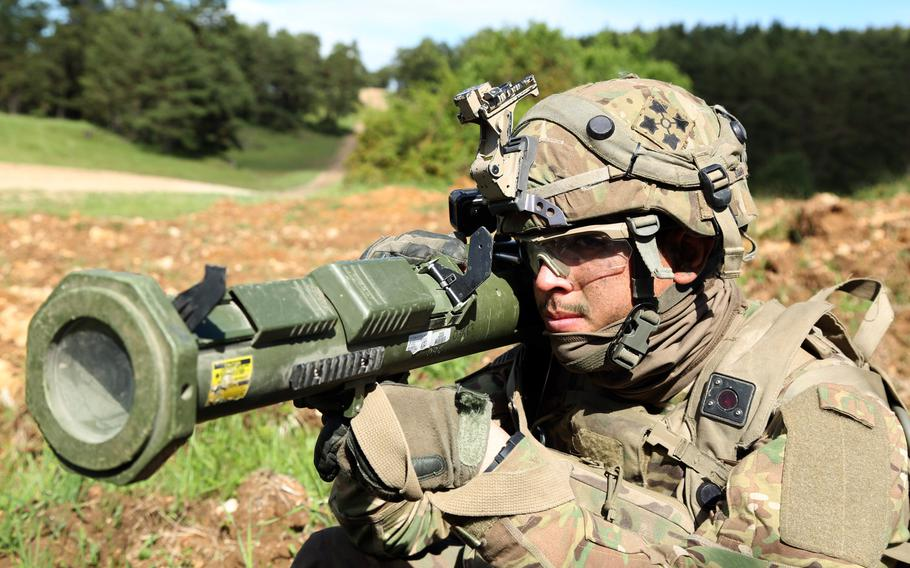U.S. Army Sgt. Joshua Oliver of the 4th Infantry Division looks down the sights of a training AT-4 during Exercise Combined Resolve VIII at the Hohenfels Training Area, Hohenfels, Germany, June 7, 2017.