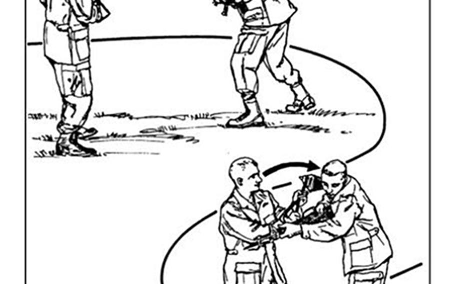 A page from the Army Field Manual shows how an entrenching tool can be used as a weapon.