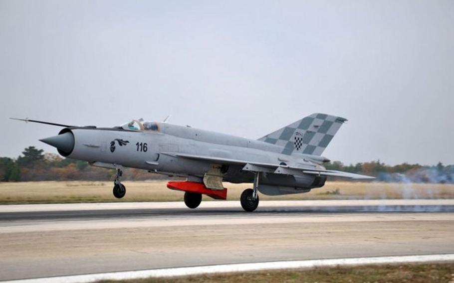A Croatian MiG-21 takes off on a training mission. The jets, which formed the backbone of the Croatian air force, are due to be retired in the near future.