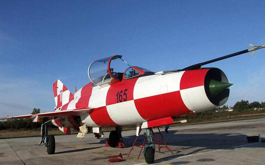 A Croatian twin-seat MiG-21UM. The training version of the Soviet-era interceptor has been painted in the checkerboard pattern of Croatia's coat of arms.