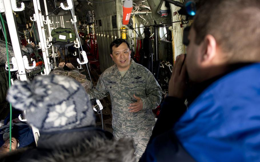 U.S. Air Force Col. Ricardo Trimillos speaks with German media during the first African and European aeromedical evacuation symposium at Ramstein Air Base, Germany, on Thursday, Jan. 18, 2018.