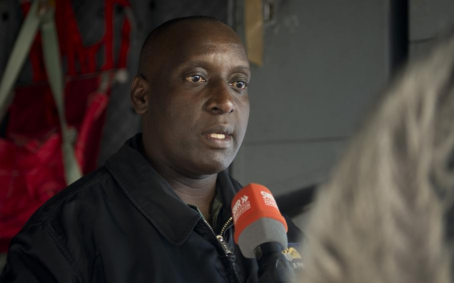 Zambian Air Force Col. Alepher Phiri speaks with German media at Ramstein Air Base, Germany, on Thursday, Jan. 18, 2018.