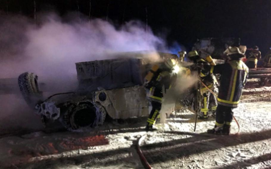 A U.S. Army Humvee caught on fire while being towed on autobahn A93  near Regnitzlosau, Germany, in Bavaria on Thursday morning, Jan.18, 2018. The autobahn had to be closed in both directions for the fire department to put out the blaze.