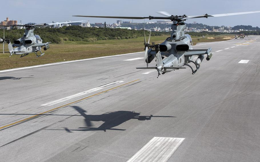 AH-1Z Vipers take off at Marine Corps Air Station Futenma, Okinawa, Japan, Feb. 14, 2017.