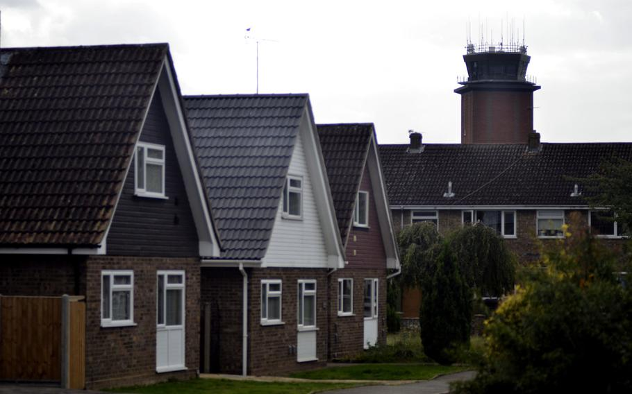 A view of the RAF Mildenhall radio tower from the nearby village of Beck Row, England, Oct. 3, 2017. Public housing and commercial businesses surround most of the base's perimeter.