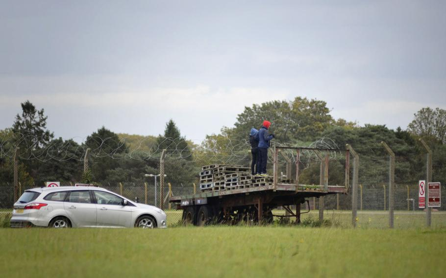Aviation enthusiasts take pictures of a flight from RAF Mildenhall, England, at the Nook Campsite, Oct. 3, 2017. Visitors can pay to stay for a day or overnight.