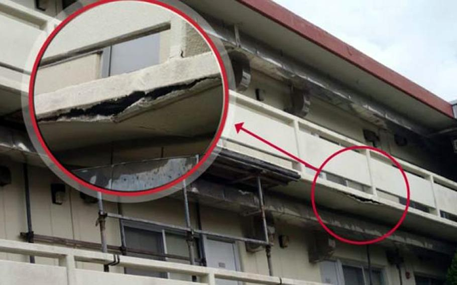 This undated images from the Department of Defense Inspector General's 2014 Military Housing Inspections report shows a walkway at Marine Corps Air Station Futenma, Okinawa.