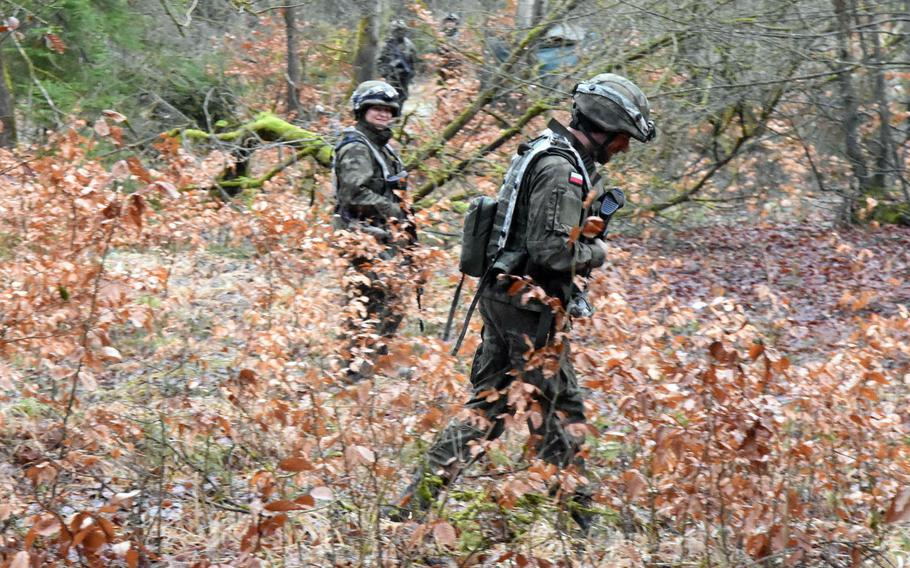 Polish soldiers on patrol during the Allied Spirit VIII exercise in Hohenfels, Germany, Monday, Jan. 29, 2018.