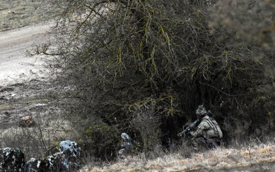 A soldier, armed with an AT-4, is set up to ambush the mock enemy during the Allied Spirit VIII exercise in Hohenfels, Germany, Monday, Jan. 29, 2018.