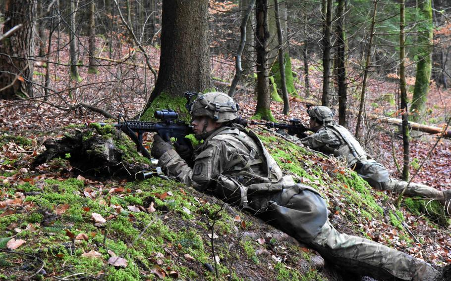 U.S. Army soldiers guarding their position during the Allied Spirit VIII exercise in Hohenfels, Germany, Monday, Jan. 29, 2018.