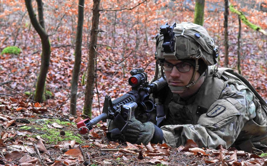 U.S. Army Sgt. Joshua Crane guards his position during the Allied Spirit VIII exercise in Hohenfels, Germany, Monday, Jan. 29, 2018.