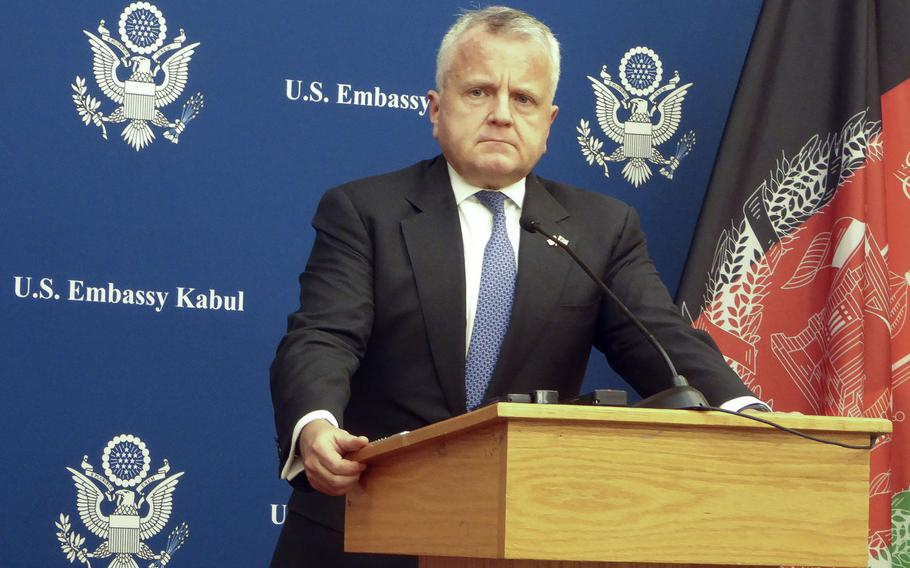 Deputy Secretary of State John J. Sullivan speaks to the media at the U.S. Embassy in Kabul on Tuesday, Jan. 30, 2018. Sullivan was in Kabul to reiterate the U.S. commitment to supporting Afghanistan in its struggle for peace until conditions on the ground improve, a tenet of the Trump administration's South Asia policy.