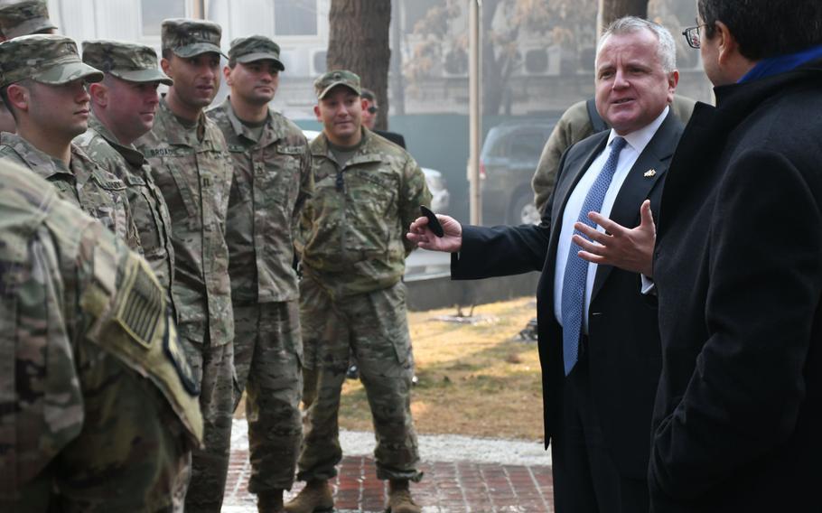 Deputy Secretary of State John J. Sullivan speaks to U.S. troops at NATO's Resolute Support headquarters in Kabul, Afghanistan, on Tuesday, Jan. 30, 2018.