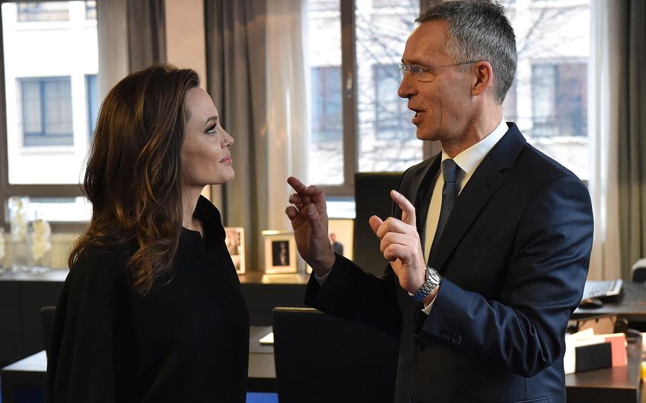 Angelina Jolie, U.N. High Commissioner for Refugees special envoy, with NATO Secretary-General Jens Stoltenberg at NATO headquarters in Brussels on Wednesday, Jan. 31, 2018.
