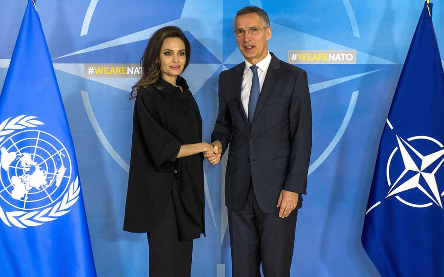 Angelina Jolie, UN High Commissioner for Refugees Special Envoy, with NATO Secretary General Jens Stoltenberg at NATO headquarters in Brussels on Wednesday, Jan. 31, 2018.