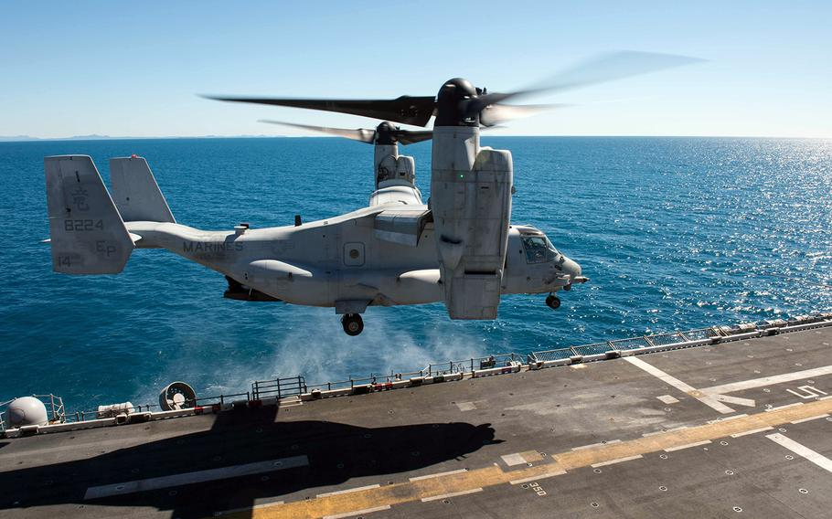 An MV-22B Osprey, assigned to Marine Medium Tiltrotor Squadron 265, takes off from the USS Bonhomme Richard in the Coral Sea during Talisman Saber, July 20 , 2017.