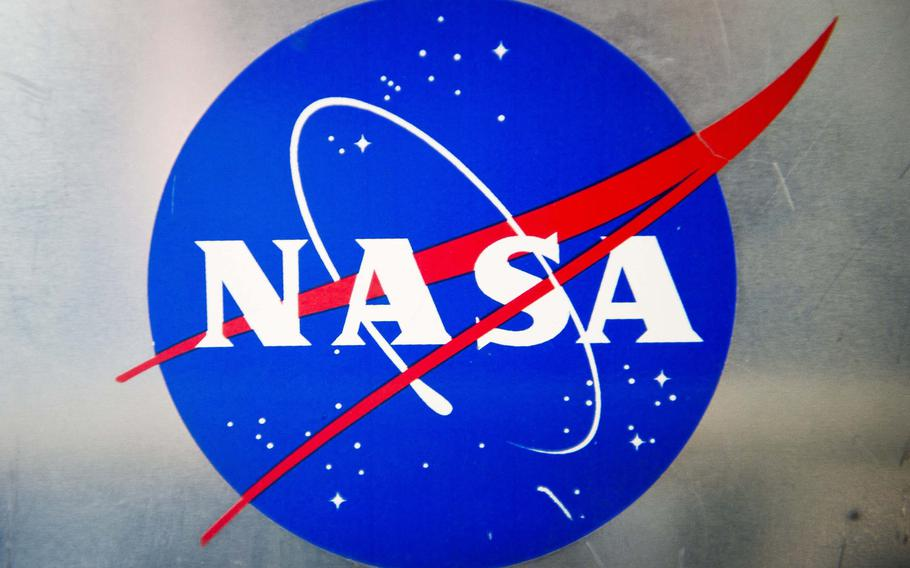 A NASA decal is displayed on an experiment module on the agency's DC-8 Airborne Science Laboratory during a flight over Germany on Wednesday, Jan. 31, 2018.