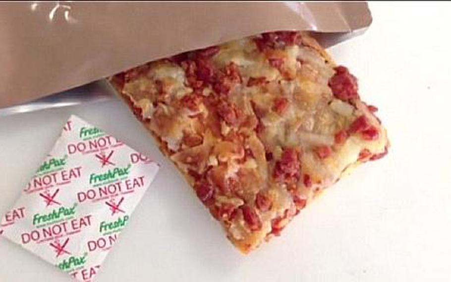 The biggest challenge to keeping a pizza tasting fresh while packed in a pouch is to prevent moisture from penetrating the crust and sauce. MRE pizzas could reach troops in the field by next year, Army researchers say.