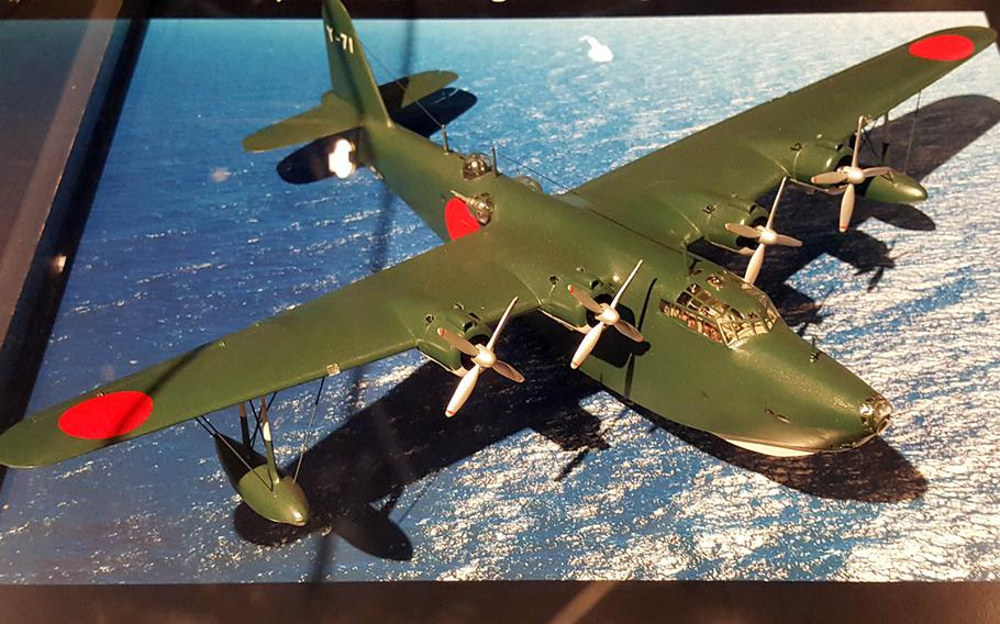 A model on display at the Pacific Aviation Museum in Honolulu shows a Kawanishi H8K bomber used by Japan in a second attack on Pearl Harbor on March 4, 1942.