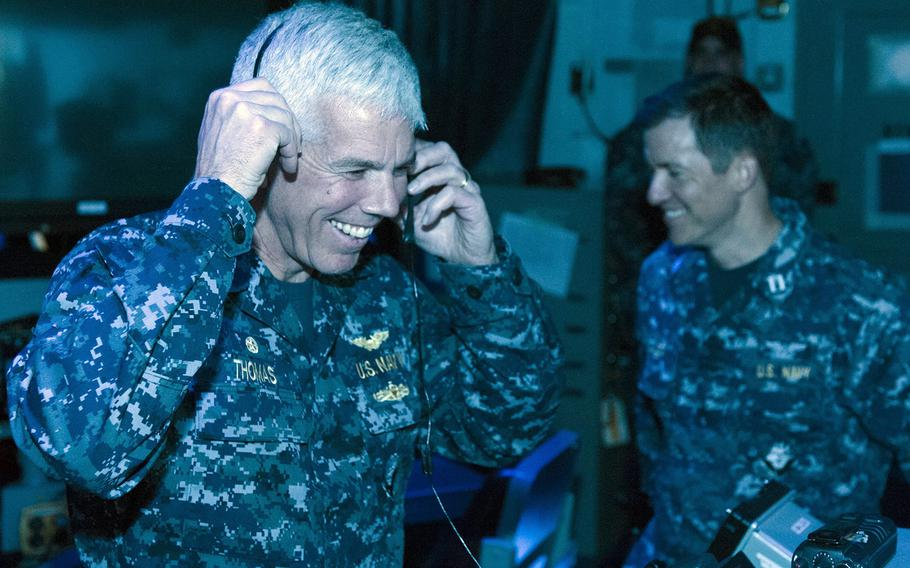 Then-Capt. Karl Thomas, commander of the USS Carl Vinson, is seen aboard the aircraft carrier in March 2016.