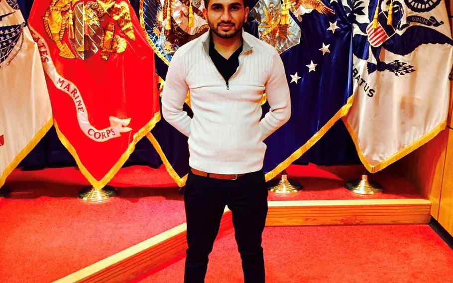 Harminder Saini, a 'Dreamer' who came to the U.S. when he was 6, poses outside the Army recruiting center on Fort Hamilton in Brooklyn, N.Y. on  February 18, 2016 after his swearing in ceremony. Saini is still waiting for his background checks to be completed before his status expires.