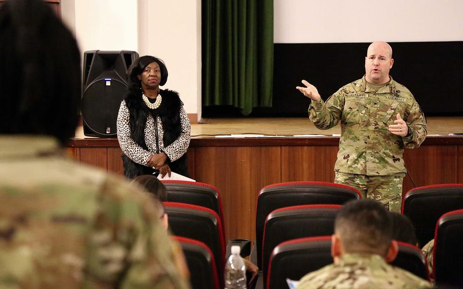 Col. Keith Igyarto, commander of U.S. Army Garrison Rheinland-Pfalz, explains the process to eliminate Legionella bacteria from the barracks' water systems to troops on Wednesday, March 7, 2018. The soldiers live in barracks at Baumholder that tested positive for Legionella bacteria, which causes Legionnaires' disease.   Will Morris/Stars and Stripes