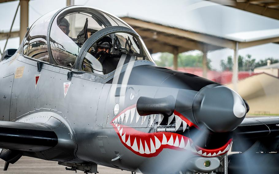 An A-29 Super Tucano takes part in an exercise at Barksdale Air Force Base, La., in 2016.