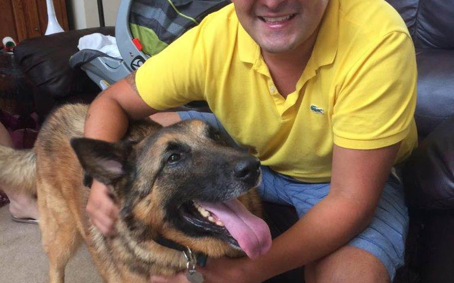25p bs Tactical explosives detection dog Ben and Julio Munoz, his former handler, catch up in August 2017 at the home of his adopted owner, Kim Scarborough.Scarborough sought to reunite the two after she adopted Ben from the Army in 2014.