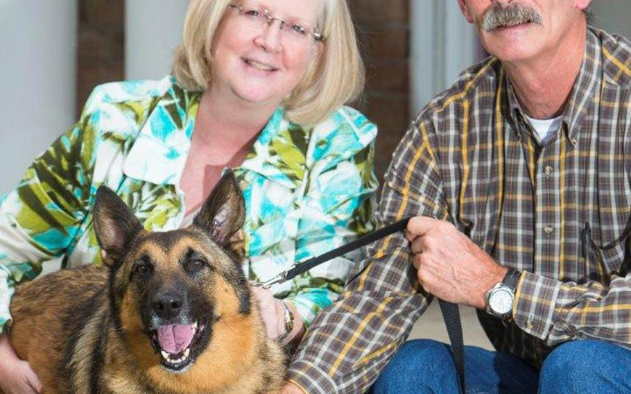 Kim Scarborough, left, and her husband Paul pose with their adopted dog Ben, a miltiary war dog, at their home in Kinston, North Carolina in November 2015. After adopting Ben from the Army, Kim searched and ultimately found Ben's handler in Afghanistan and reunited them. Courtesy Kim Scarborough