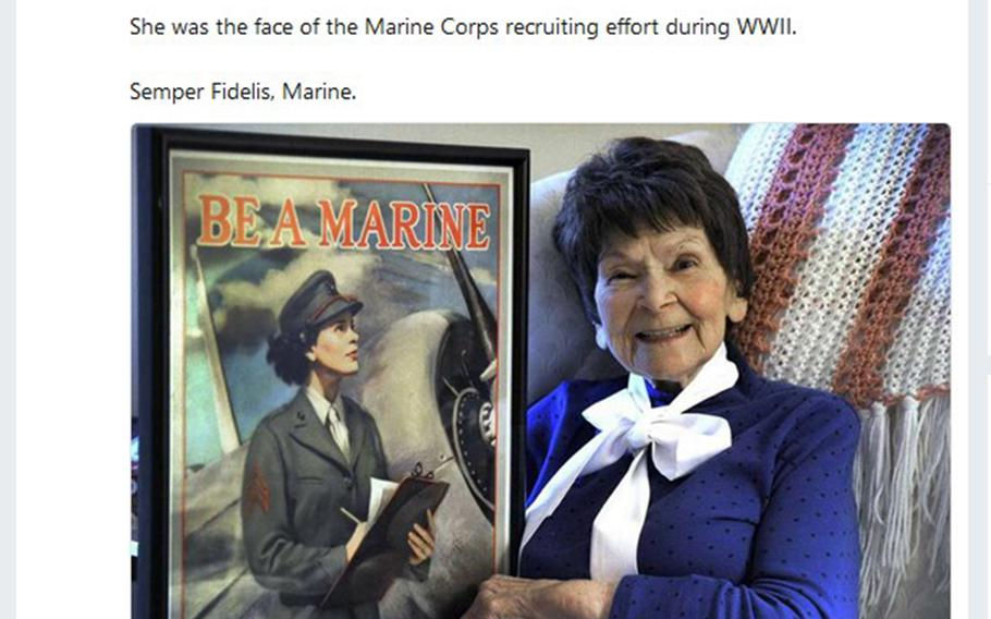 Veronica Byrnes Bradley poses with her World War II-era recruiting poster, in a Tweet posted last week by the Marine Corps.
