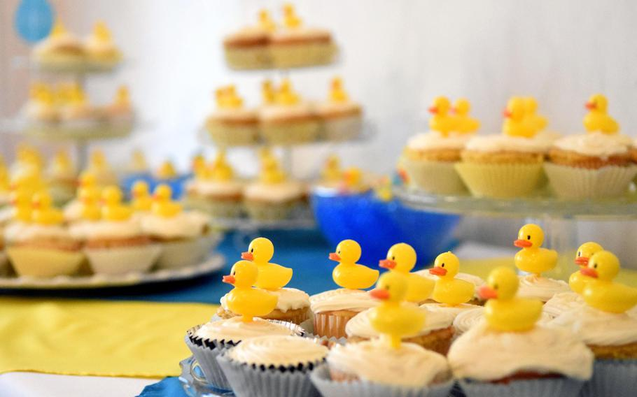 Cupcakes for the expectant mothers from U.S. Army Garrison Bavaria at the Special Delivery baby shower event, at Grafenwoehr, Germany, Wednesday, March 14, 2018.