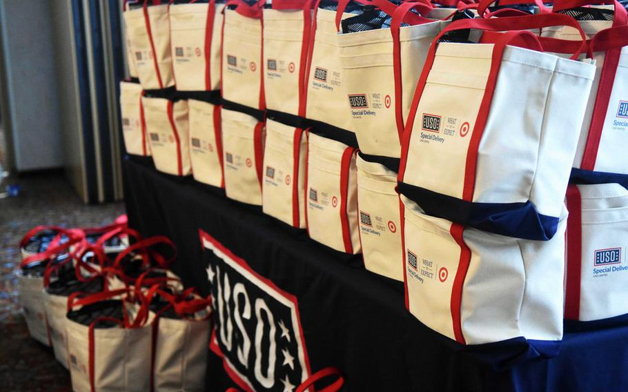 Giftbags for the expectant mothers from U.S. Army Garrison Bavaria at the Special Delivery baby shower event, at Grafenwoehr, Germany, Wednesday, March 14, 2018.