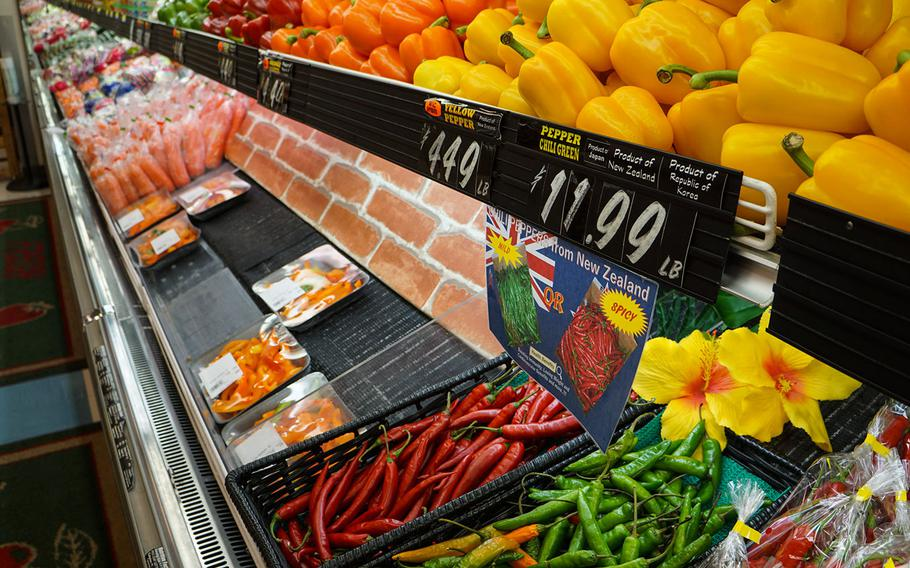 Chili peppers cost $11.99 per pound at the commissary on Yokota Air Base, Japan, Thursday, March 15, 2018.