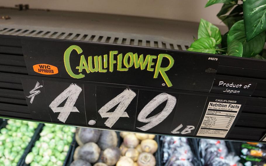 A head of Japanese cauliflower sold for $4.49 per pound at the commissary on Yokota Air Base, Japan, Thursday, March 15, 2018.