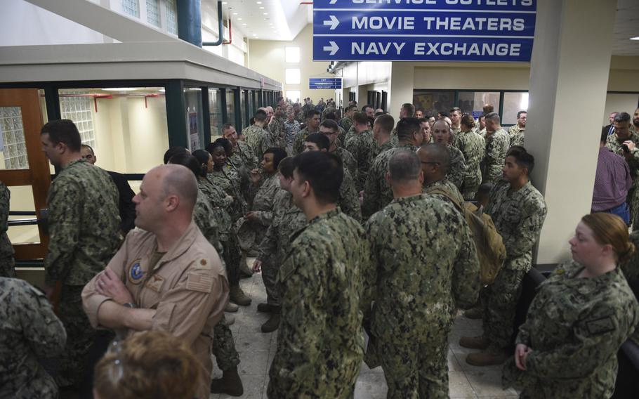 People fill the hallways prior to an all hands call with Defense Secretary Jim Mattis at Naval Support Activity Bahrain, March 15, 2018. Most of these people shown here had to leave due to overcrowding.