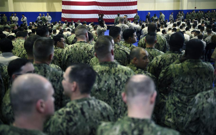 Servicemembers stand by prior to an all hands call with Defense Secretary Jim Mattis at Naval Support Activity Bahrain on March 15, 2018.