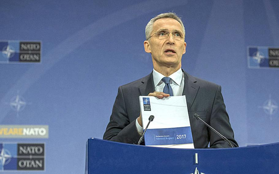 NATO Secretary-General Jens Stoltenberg presented the organization's annual report at its headquarters in Brussels, Belgium, Thursday, March 16, 2018.
