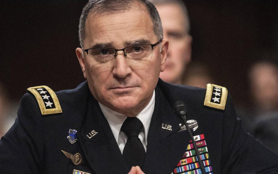U.S. European Commander Gen. Curtis Scaparrotti testifies before the Senate Armed Services Committee on Thursday, March 8, 2018, during a hearing on Capitol Hill in Washington, D.C.